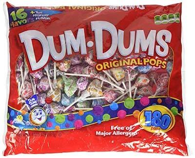 A bag of Dum Dum lollipops, a nut free Halloween candy.