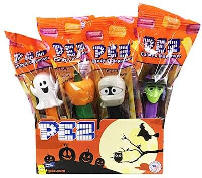 A collection of Halloween PEZ dispensers.