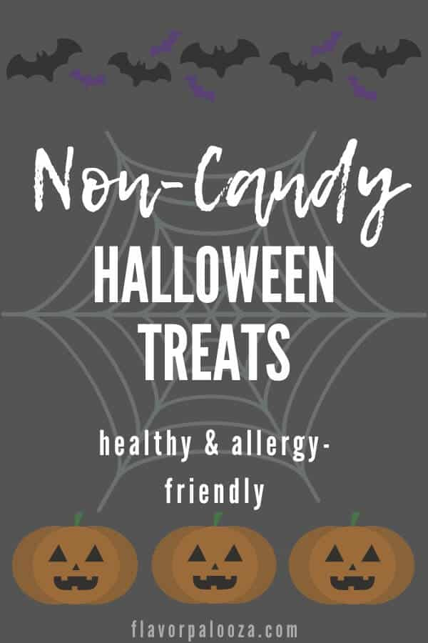 Halloween-themed graphic with text overlay: Non-Candy Halloween Treats