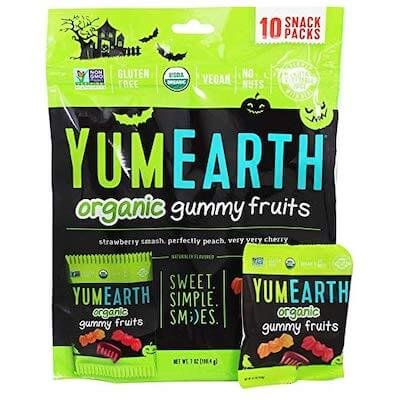 A bag of YumEarth Halloween gummy candy
