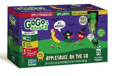 A box of Halloween-themed GoGo squeeZ applesauce pouches.