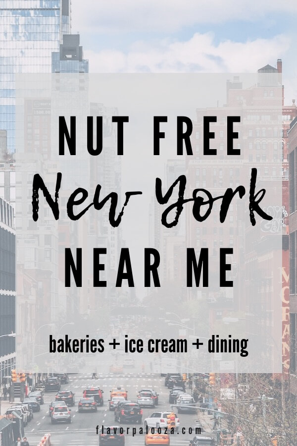 A photo of a busy NYC street that says Nut Free Near Me New York.
