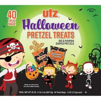 A package of small Utz Halloween pretzel bags.
