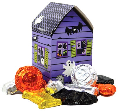 A haunted house filled with nut free chocolates from Vermont Nut Free.