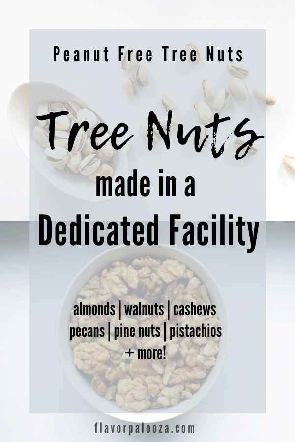 Pistachios and walnuts in bowls with text overlay: Tree nuts made in a dedicated facility.