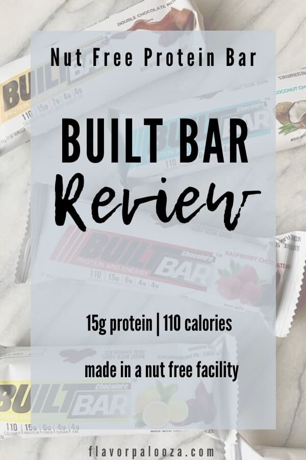 Several Built Bar protein bars on a counter top, with text overlay: Built Bar Review